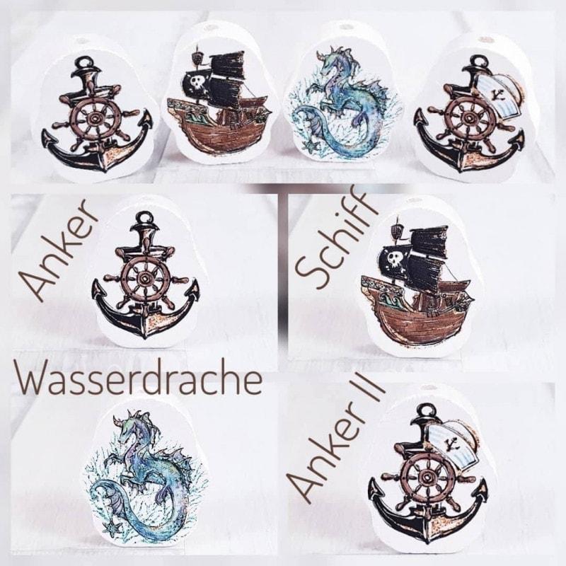 """""""Anker, Schiff, Drache"""" Holz Motivscheibe Holz"""