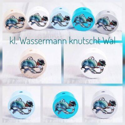 """""""Wassermann knutscht Wal"""" Motivscheibe Holz"""